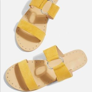 NWTs TOPSHOP • Hooray Mustard Yellow Slide Sandals